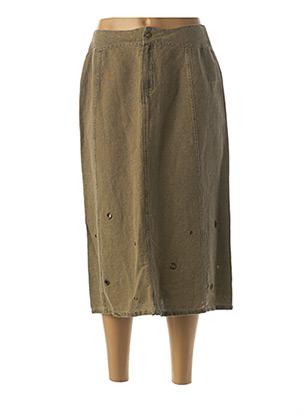 Jupe mi-longue vert DP JEANS pour femme