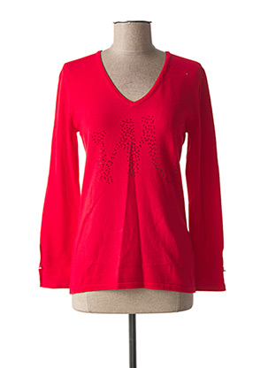 Pull col V rouge MARBLE pour femme