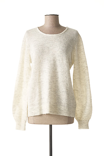 Pull col rond gris ICHI pour femme
