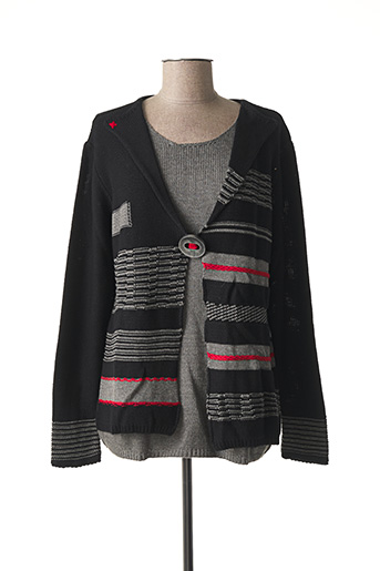 Pull col rond noir CAPUCCINO pour femme