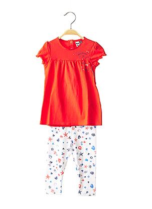 Top/pantalon orange 3 POMMES pour fille