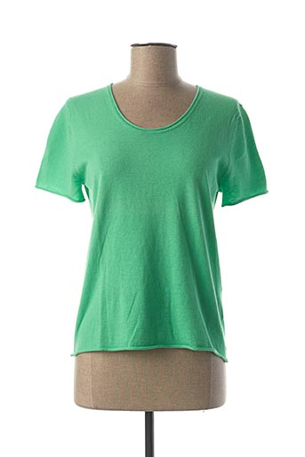 Pull col rond vert CHARMING SMILE pour femme