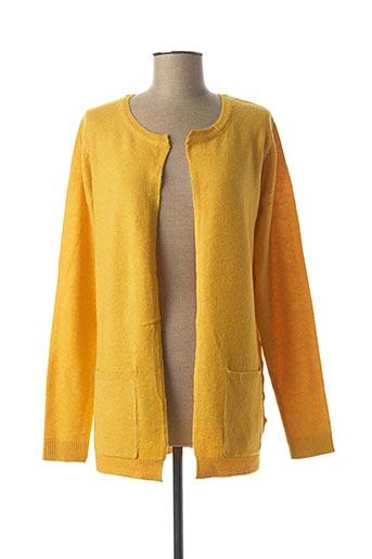 Gilet manches longues jaune ICHI pour femme