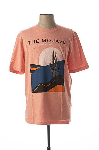T-shirt manches courtes orange SELECTED pour homme