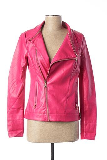 Veste simili cuir rose DESIGUAL pour femme