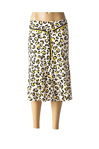 Jupe mi-longue jaune FRANK WALDER pour femme