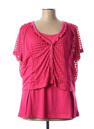 T-shirt manches courtes rose JAC JAC pour femme
