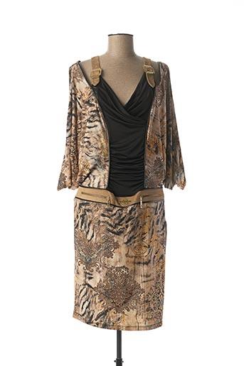 Robe mi-longue beige LASAGRADA pour femme