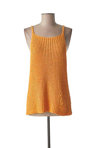 Pull col rond orange LAUREN VIDAL pour femme