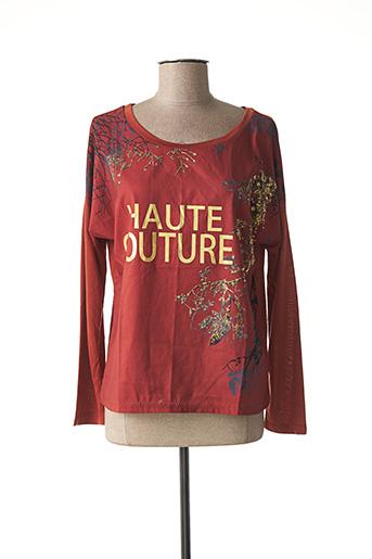 T-shirt manches longues marron EXQUISS'S pour femme