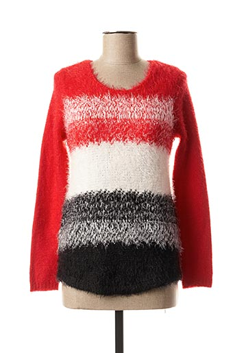 Pull col rond rouge MARBLE pour femme