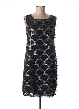 Robe mi-longue noir COULEURS DU TEMPS pour femme