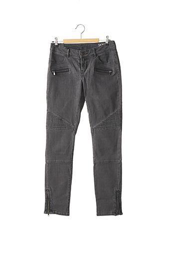 Jeans coupe slim gris SCHOOL RAG pour femme