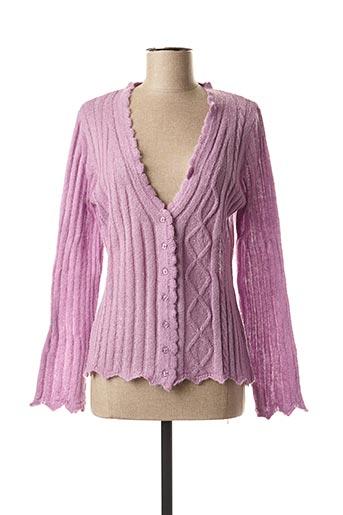Gilet manches longues violet ELLEMME pour femme