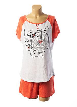 Pyjashort orange MASSANA pour femme