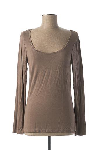 T-shirt manches longues marron LA FEE MARABOUTEE pour femme