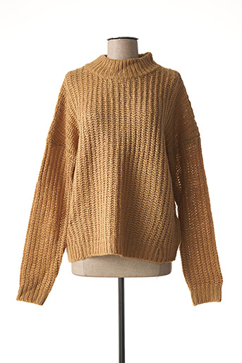 Pull col cheminée marron NOISY MAY pour femme