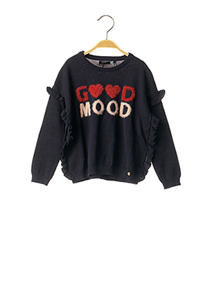 Pull col rond bleu IKKS pour fille