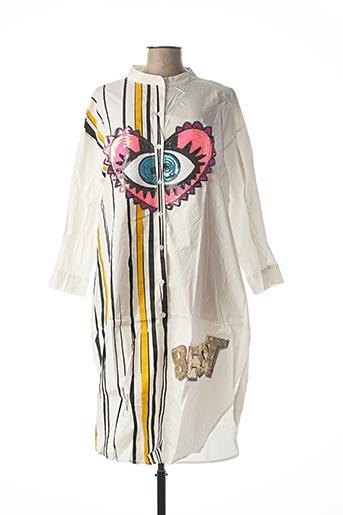 Robe mi-longue blanc BUBBLEE pour femme