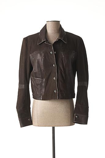 Veste en cuir marron HICH USE pour femme