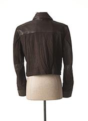 Veste en cuir marron HICH USE pour femme seconde vue