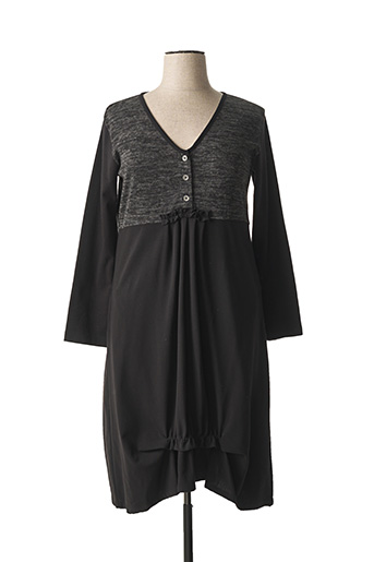 Robe mi-longue noir NID D'ABEILLE pour femme