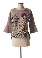 Pull col rond marron MAMATAYOE pour femme seconde vue