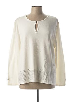 Pull tunique blanc MARBLE pour femme