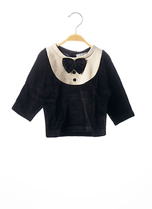 T-shirt manches longues noir MILK ON THE ROCKS pour fille