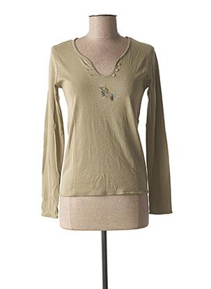 T-shirt manches longues vert DIPLODOCUS pour femme