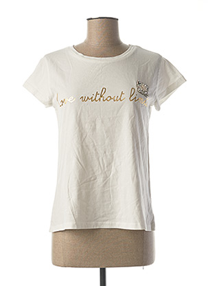 T-shirt manches courtes blanc BSB pour femme