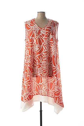 Robe mi-longue orange FRANCK ANNA pour femme