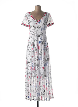 Robe longue blanc MC PLANET pour femme