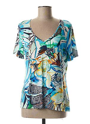 T-shirt manches courtes bleu PAUSE CAFE pour femme