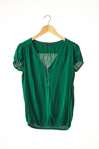 Blouse manches courtes vert ZARA pour femme