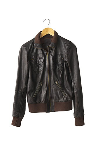 Veste en cuir marron BERSHKA pour femme
