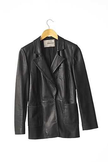 Veste en cuir noir ERMANNO SCERVINO pour femme