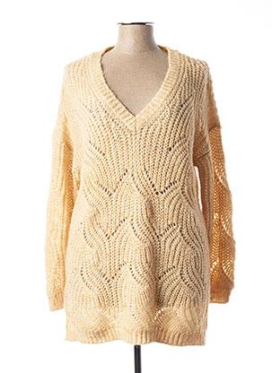 Pull tunique beige ONLY pour femme