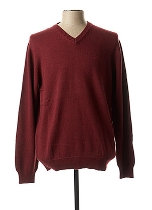 Pull col V rouge KITARO pour homme