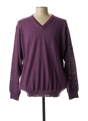Pull col V violet MONTE CARLO pour homme
