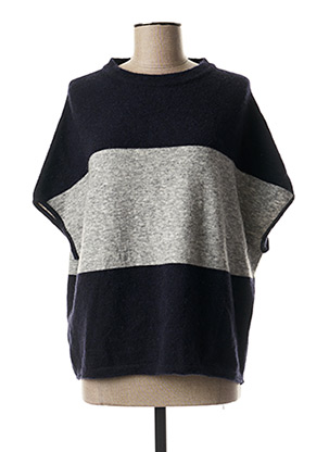 Pull col rond bleu ROSSO 35 pour femme