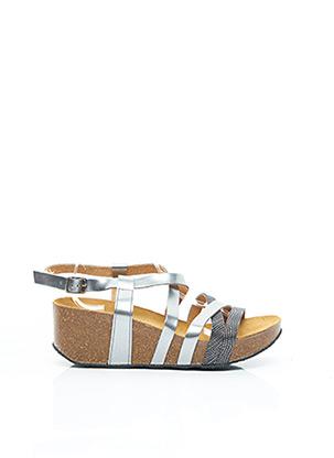 Sandales/Nu pieds gris PLAKTON pour femme