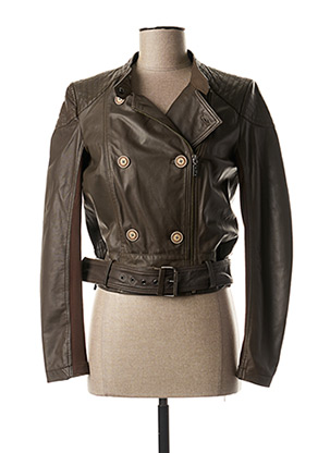 Veste en cuir marron TRUSSARDI JEANS pour femme