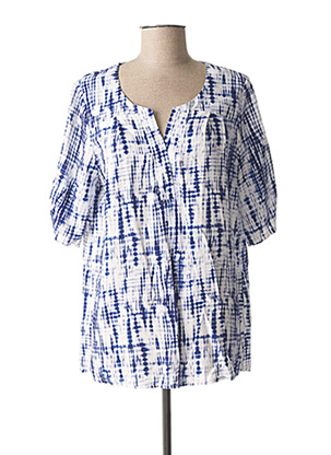 Blouse manches courtes bleu HALOGENE pour femme