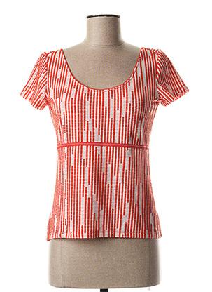 T-shirt manches courtes rouge LO! LES FILLES pour femme