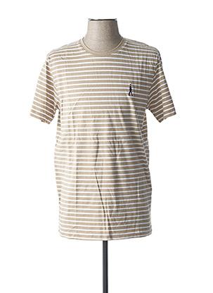 T-shirt manches courtes beige SELECTED pour homme
