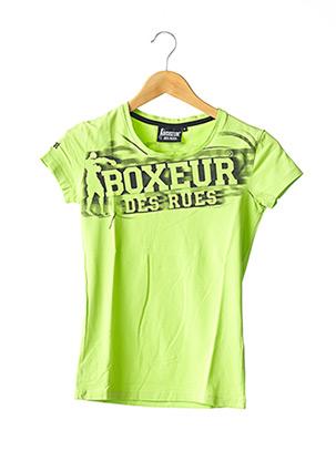 T-shirt manches courtes vert BOXEUR DES RUES pour femme